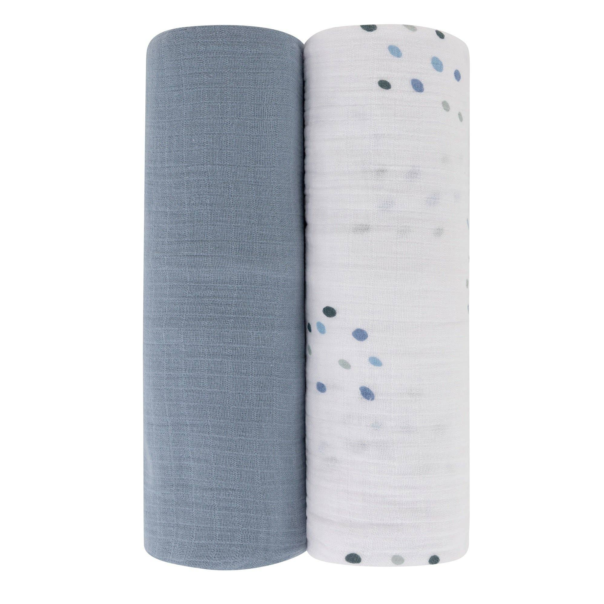 Cotton Muslin Swaddle Blanket Blue Raindrop and Solid