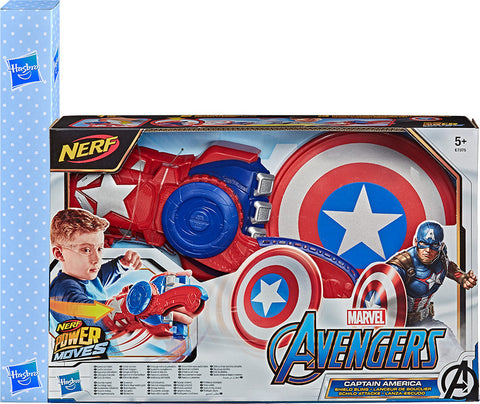 Λαμπάδα Nerf Power Moves Marvel Avengers Role Play Captain America Ασπίδα Και Γάντι (E7375)