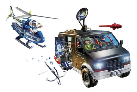 Playmobil City Action Αστυνομικό ελικόπτερο και ληστές με βαν (70575)