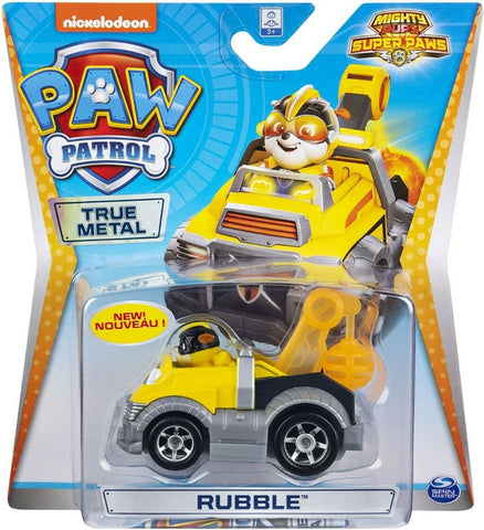 Paw Patrol Μεταλλικά Οχήματα Mighty Pups Super Paws Rubble True Metal Vehicle (20133189)