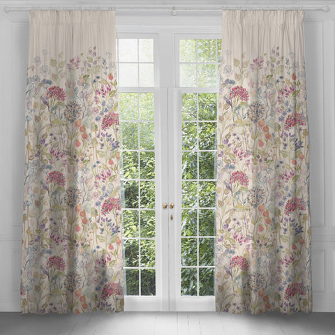 Hedgerow Violet Extra Long Linen Curtains