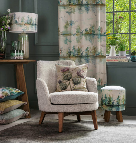 thistle cushion with Wilderness print curtains from Voyage