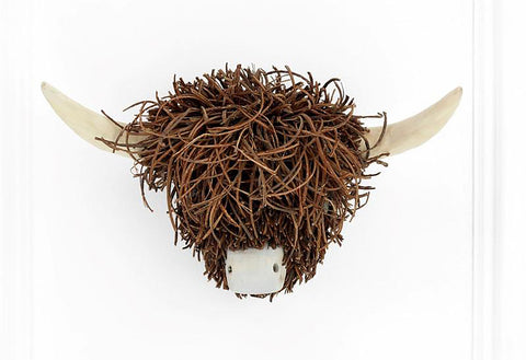 Wall Mounted Wooden Highland Cow Sculpture