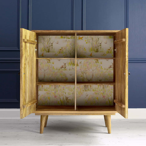 Roseum Square 2 Door Wooden Cabinet with decoupaged Enchanted Forest Wallpaper Remnant on back panel