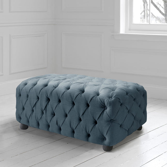 Alpheus Footstool in Malleny Denim Fabric