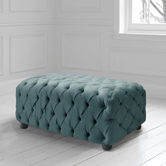 Alpheus Footstool in Malleny Ocean Fabric