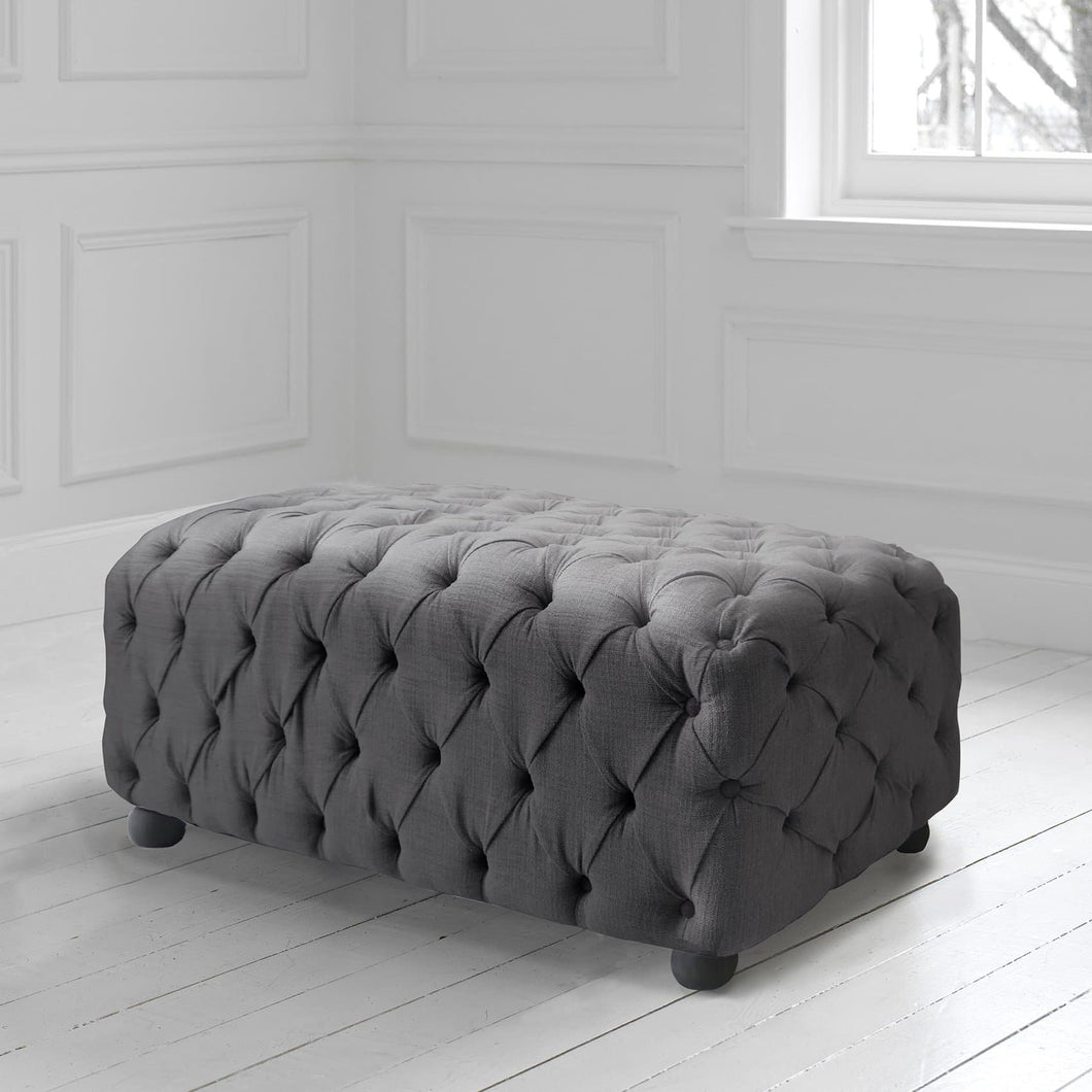 Alpheus Footstool in Malleny Slate Fabric
