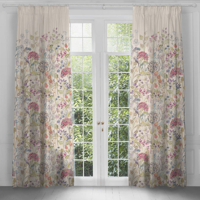 Hedgerow White Linen Extra Long Curtains