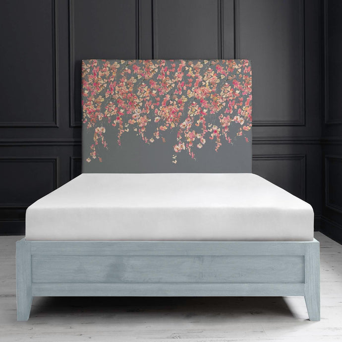 Bronn Blue Grey Double Bed Frame in Cherry Blossom