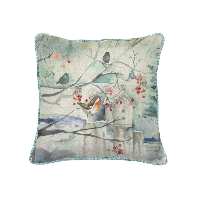 Christmas Robins in Snow Square Cushion