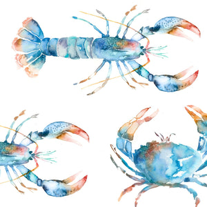 Crustaceans Cobalt Oil Cloth