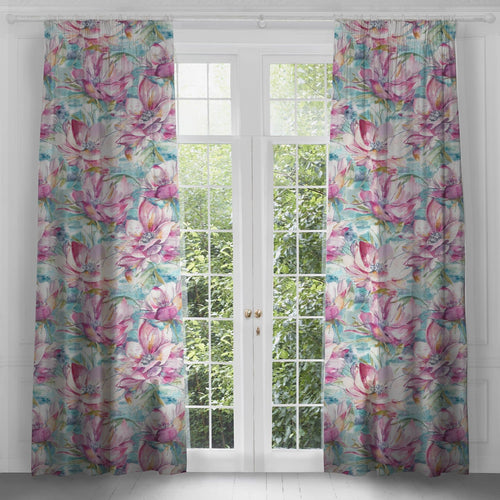 Dusky Blooms extra long 3 meter linen curtains (4467740508218)