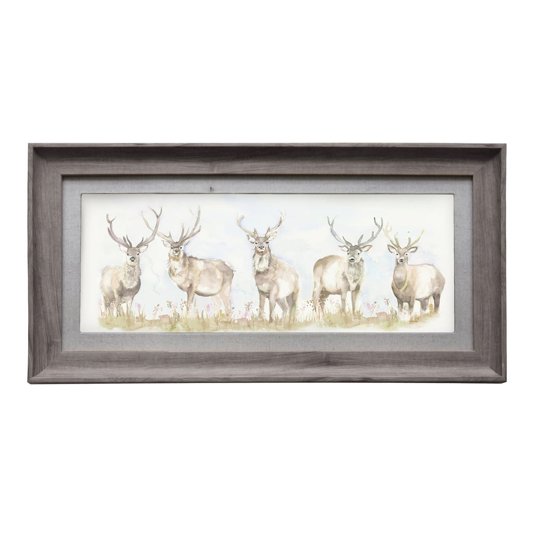 Moorland Stag 71.8x36 Framed Print in Stone (4454746357818)