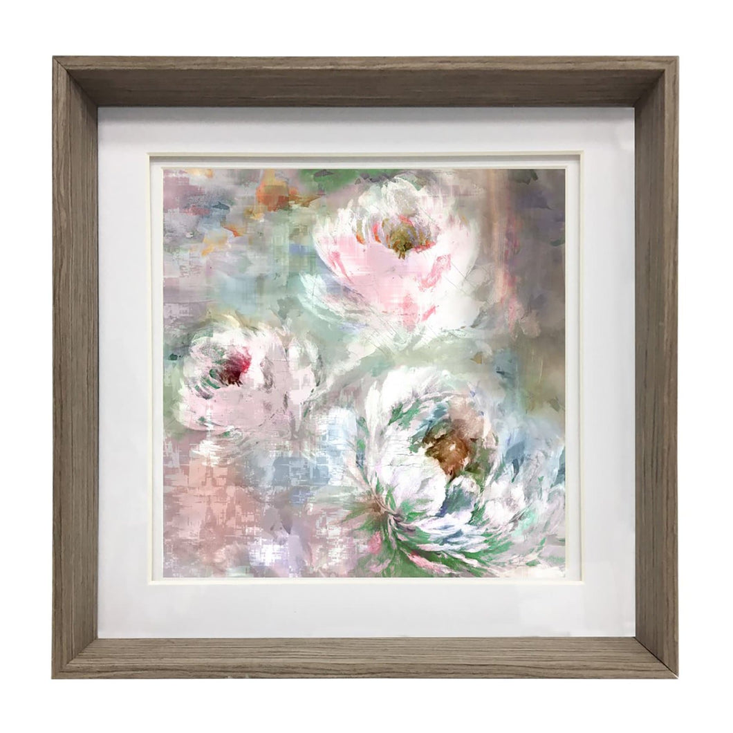 Roseum Coral 81x81cm Framed Print in Nut