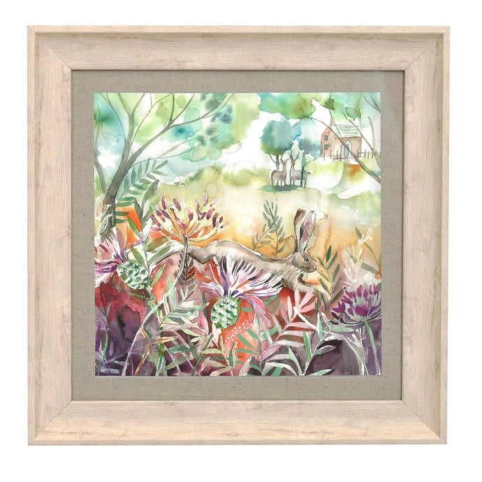 Hare and Thistles Birch Framed Print 46x46
