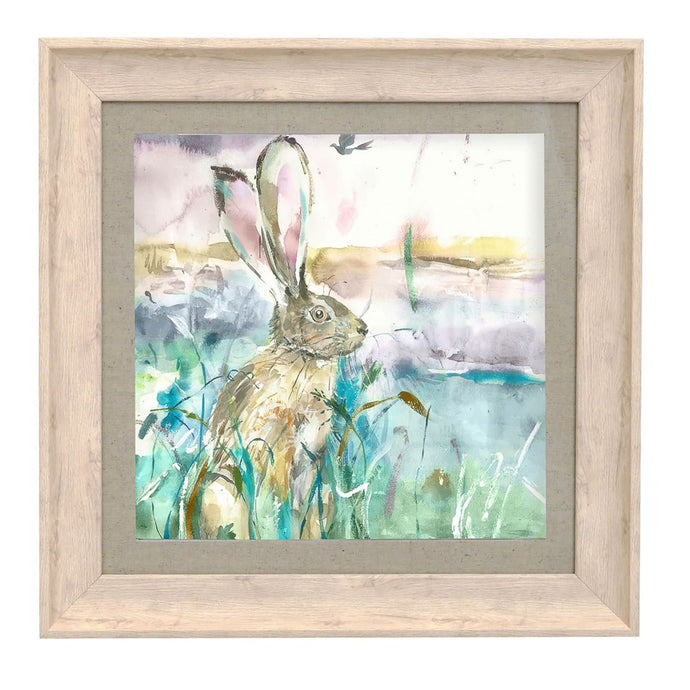Morning Hare Birch Framed Print 46x46