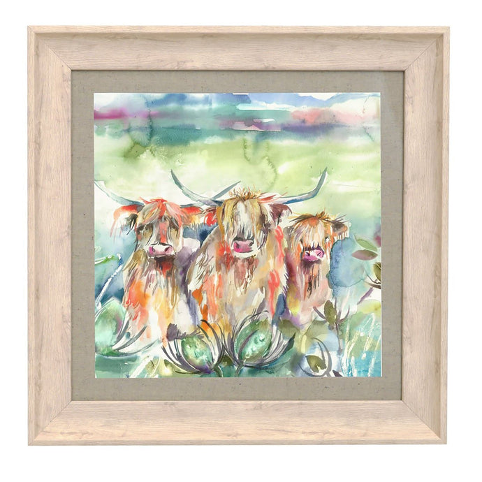 Heilan Herd Birch Framed Print 46x46