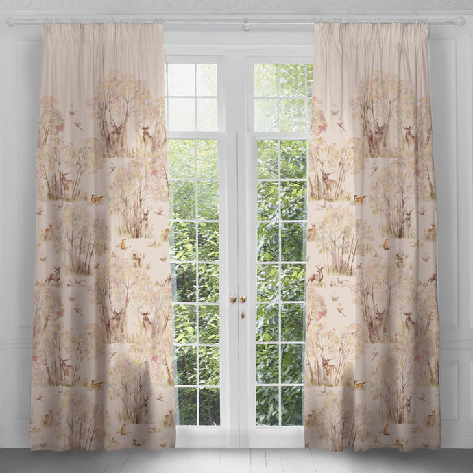 Enchanted Forest Autumn Extra Long Linen Curtains