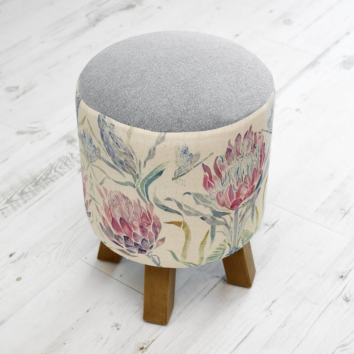 Monty Footstool with Protea Design and Verban Mineral Top (4388158996538)