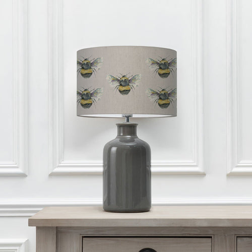 Bee Silver 40cm Lampshade with Elspeth Grey Ceramic Table Lamp (6652536684742)