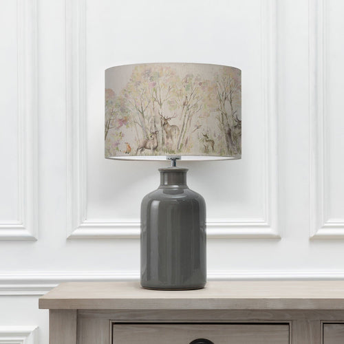 Enchanted Forest 40cm Lampshade with Elspeth Grey Ceramic Table Lamp (6652536586438)