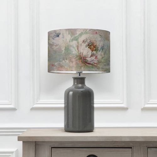 Roseum Coral 40cm Lampshade with Elspeth Grey Ceramic Table Lamp (6652536455366)