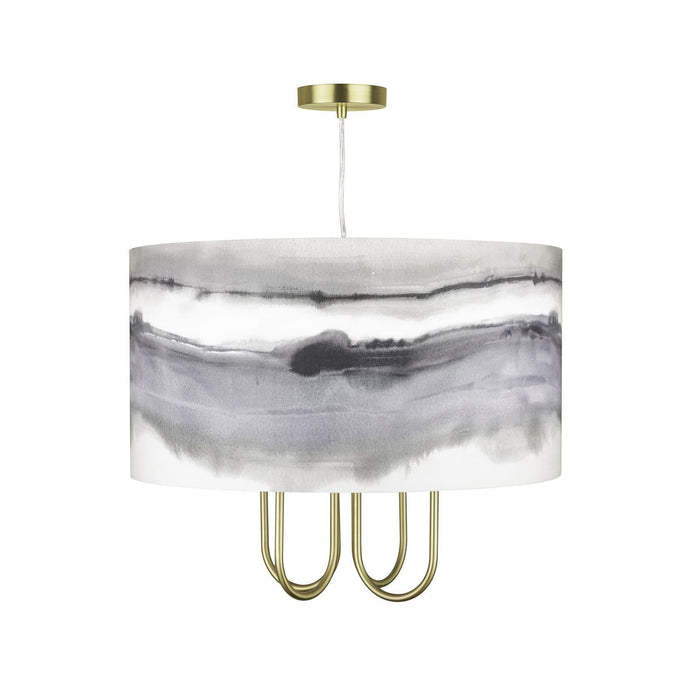 Taurus Gold 4 Light Ceiling Pendant with Fjord Natural 46cm Shade (4435552895034)