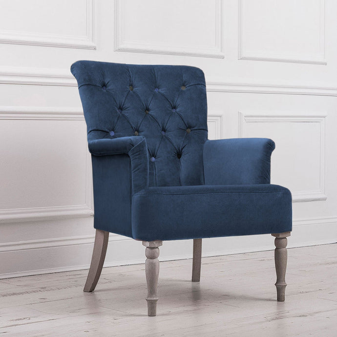 Nero Lapis Bluebell Velvet Chair