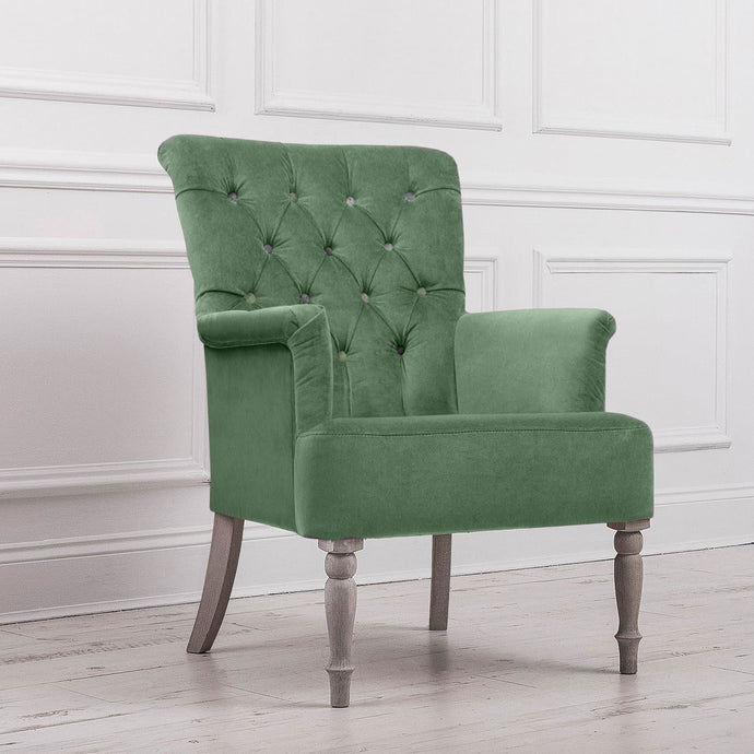 Nero Lapis Pea Green Velvet Chair