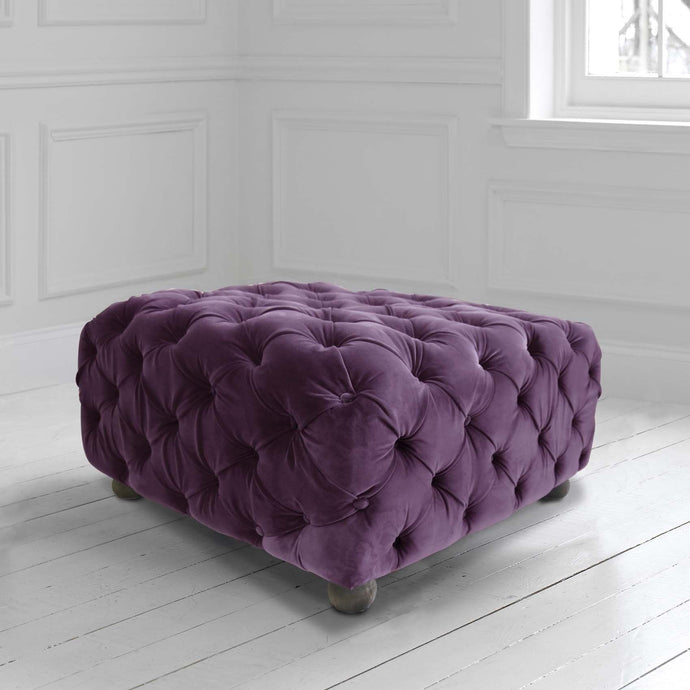 Praim Footstool in Zircon Damson