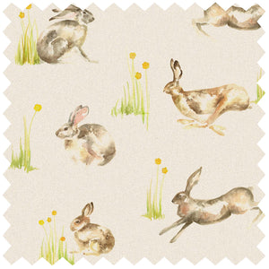 Racing Hares Linen - Fabric Remnants