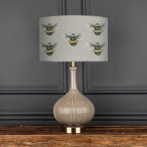 Ursula Silver Table Lamp with Bee Silver 40cm Eva Lampshade (6089447080134)