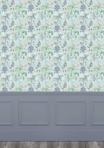 Woodland Adventures Aqua Wallpaper (4435146080314)
