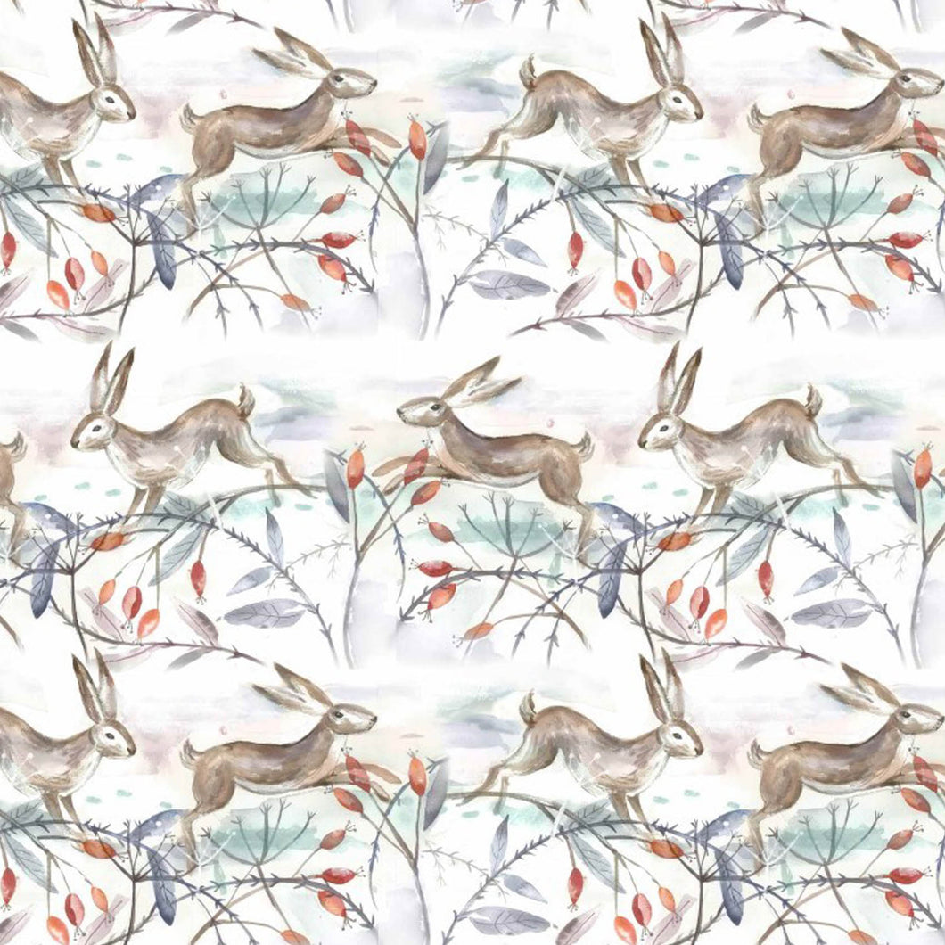 Voyage Christmas Hares Linen - Oil Cloth (4477927030842)