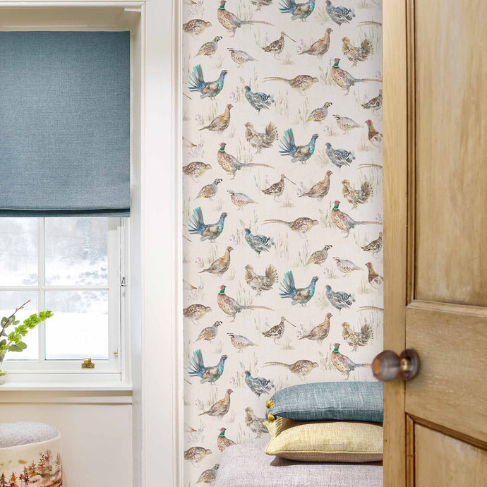 Voyage Game Birds - Linen Wallpaper