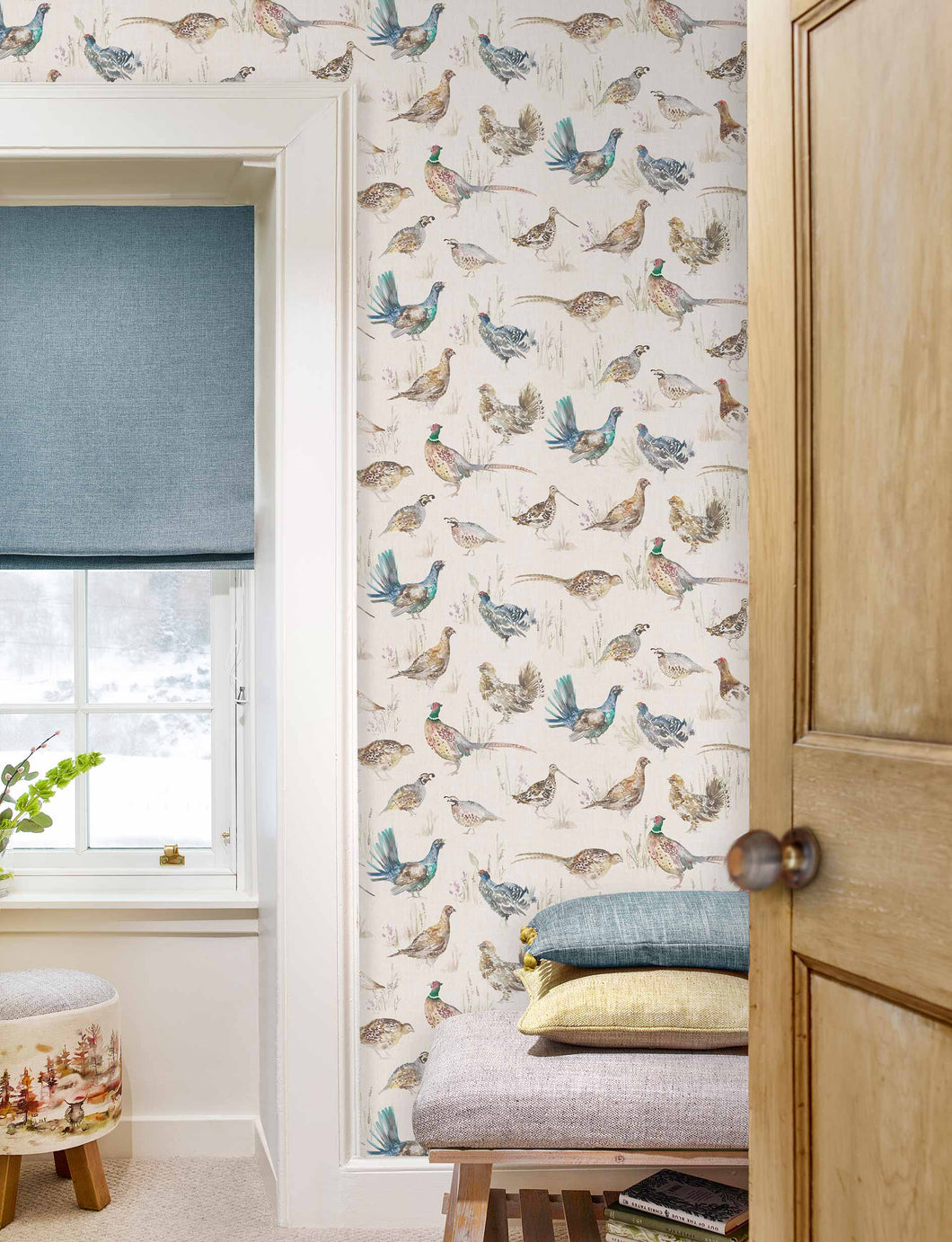 Voyage Game Birds - Linen Wallpaper (4436283785274)