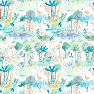 Voyage Jungle Fun Aqua Wallpaper (4435144769594)