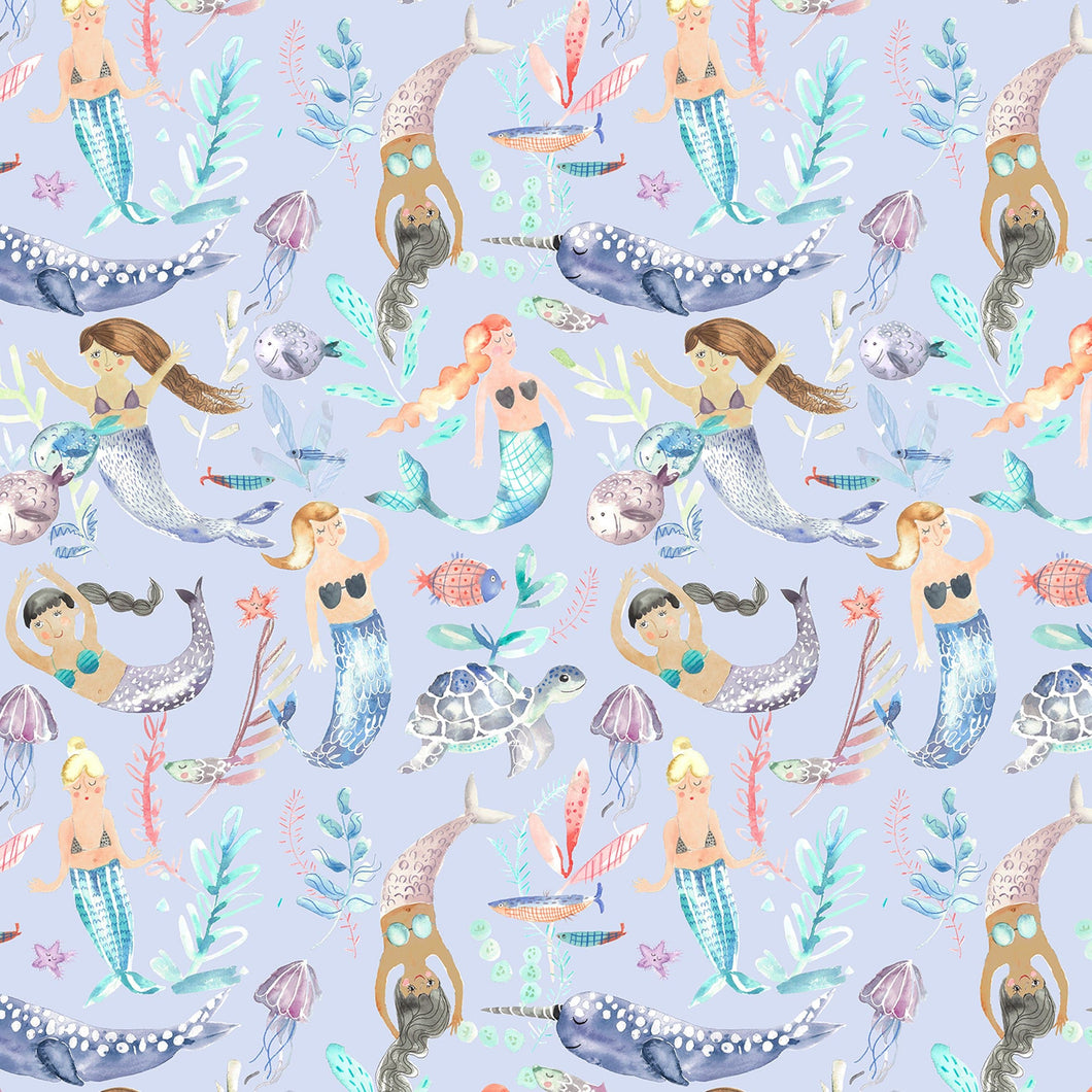 Voyage Mermaid Party Violet Wallpaper (4435145130042)