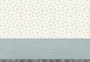 Garden Birds Small - Cream Wallpaper (4436285358138)