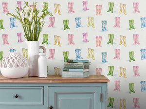 Welly Boots - Cream Wallpaper (4436285751354)