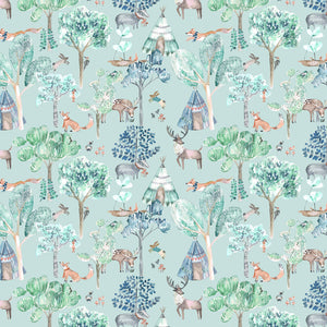 Voyage Woodland Adventures Aqua Wallpaper (4435146080314)