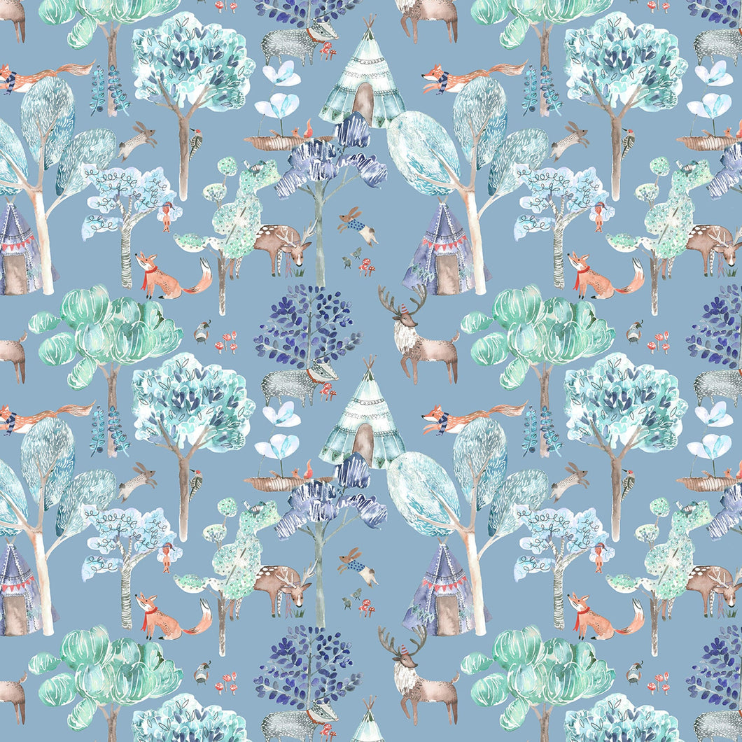 Voyage Woodland Adventures Denim Wallpaper (4435146113082)