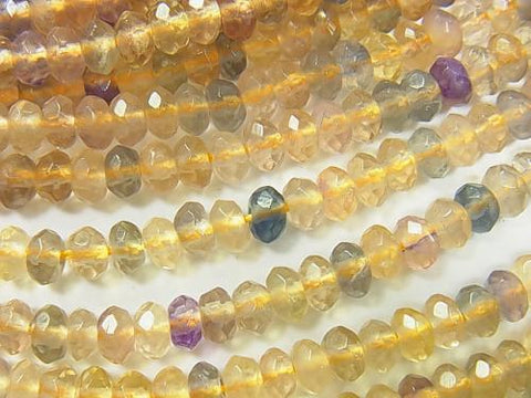 Multicolor Fluorite Faceted Button Roundel 5x5x3mm half or 1strand (aprx.15inch / 38cm)