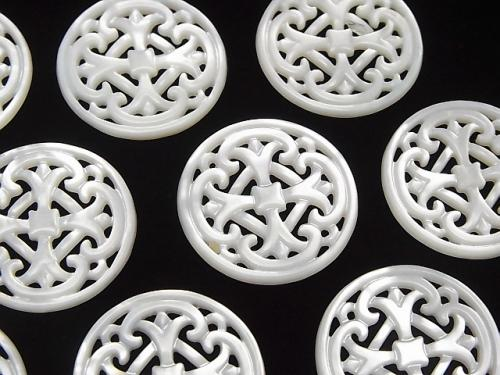 1pc $5.79! High Quality White Shell Watermark Coin 25x25x2mm 1pc