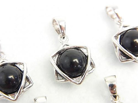 1pc $19.99! Tektite 8mm ball with star shape Pendant Silver 925