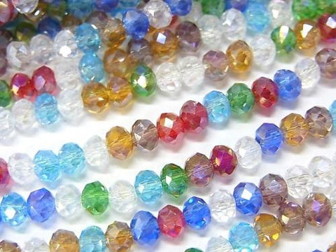 1strand $2.19! Glass Beads  Faceted Button Roundel 4 x 4 x 3 mm Multicolor AB 1 strand (aprx.19 inch / 46 cm)