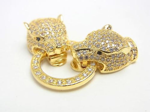 Metal Parts CZ Leopard Motif Clasp Gold Color 1pc $13.99!