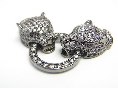 Metal Parts CZ Leopard Motif Clasp Black (Gunmetal) 1pc $13.99!