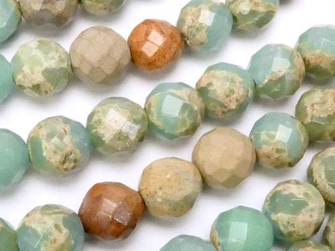 Impression Stone  64Faceted Round 8mm half or 1strand (aprx.15inch/37cm)