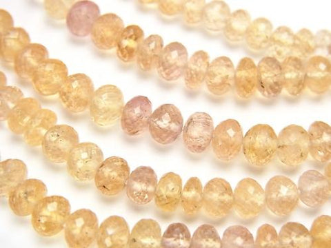 MicroCut! High Quality Imperial Topaz AAA Faceted Button Roundel 1/4 or strand (aprx.7inch / 19cm)